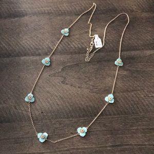 Francesca's Turquoise/Gold Long Flower Necklace